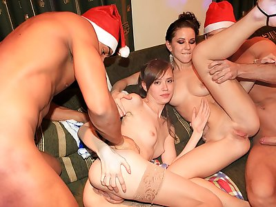 Luxurious college girl go crazy at New Year party
