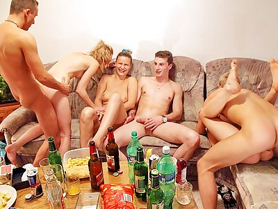 Hard-core group boinking at horny fuck-a-thon party