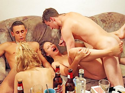 Hard-core college girl ass fucking intercourse at college bash