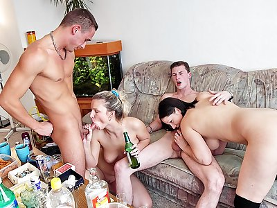 Luxurious college nymph bash with uber-sexy college screw
