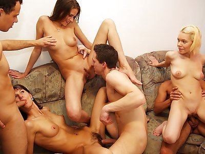 Wondrous nude party movie with red-hot group smashing