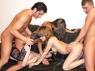 Badass college ladies deep-throat ample spunk-pumps at super-fucking-hot party