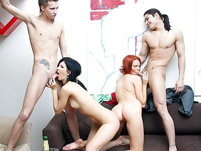 Outstanding party intercourse sequence with a naughty ginger-haired