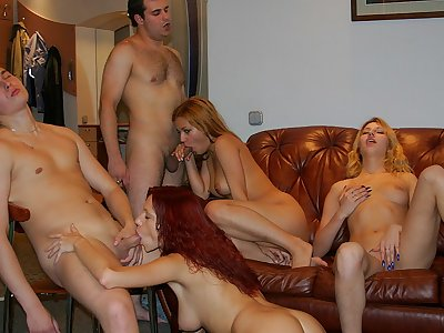 Playful pretty party girls seduce super-naughty boys