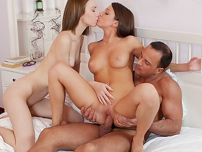 2 sweeties share a salami in wild art pornography three-way